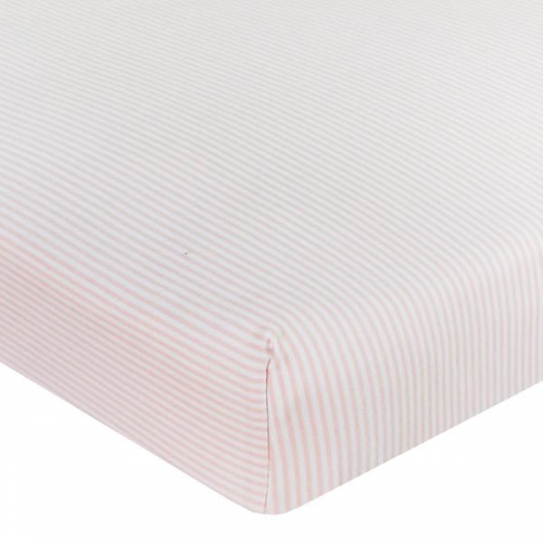 Living Textiles Jersey Cot Fitted Sheet Pink Stripe